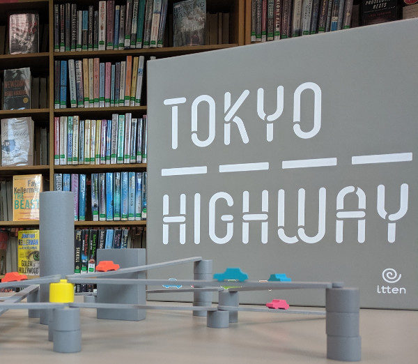 Board game: Tokyo Highway on display at the library.