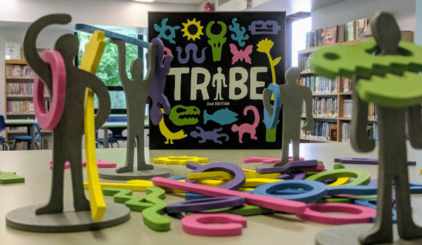 Board game: Tribe on display at the library.