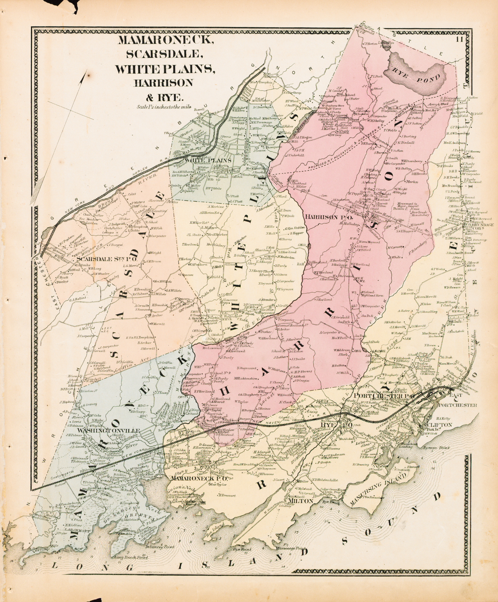 1867 Map of Mamaroneck Scarsdale White Plains Harrison and Rye