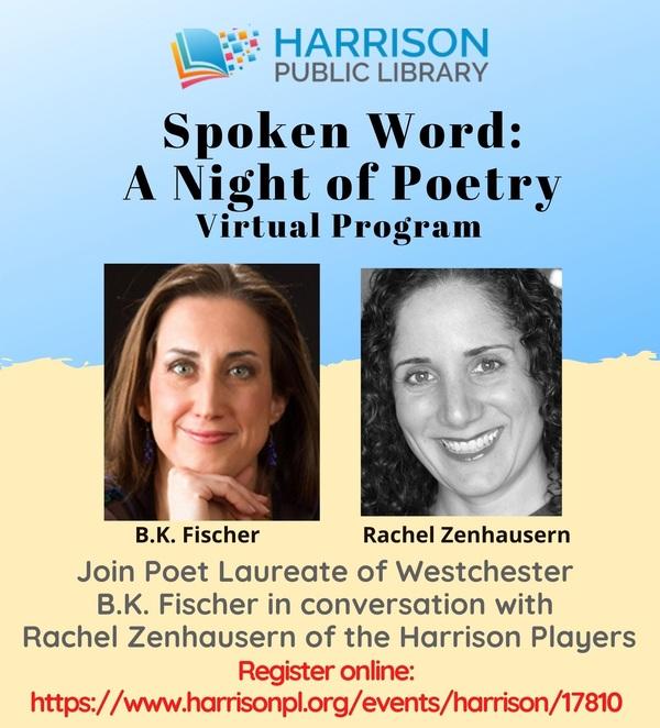 Spoken Word: A Night of Poetry with Westchester Poet Laureate B.K. Fischer and Rachel Zenhausern