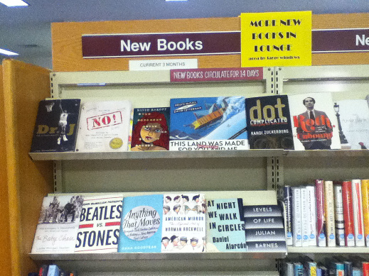 Shelf of New Books at the Harrison Public Library