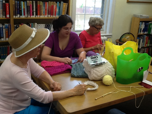 Knitting and Crocheting at the West Harrison Library.